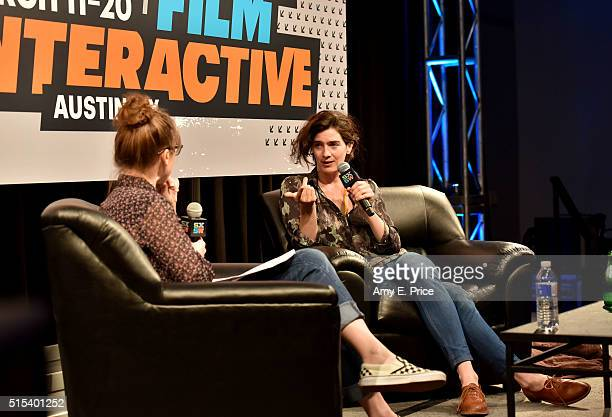 Filmmaker Kat Candler and actress Gaby Hoffmann speak onstage at 'A Conversation with Gaby Hoffmann' during the 2016 SXSW Music Film Interactive...
