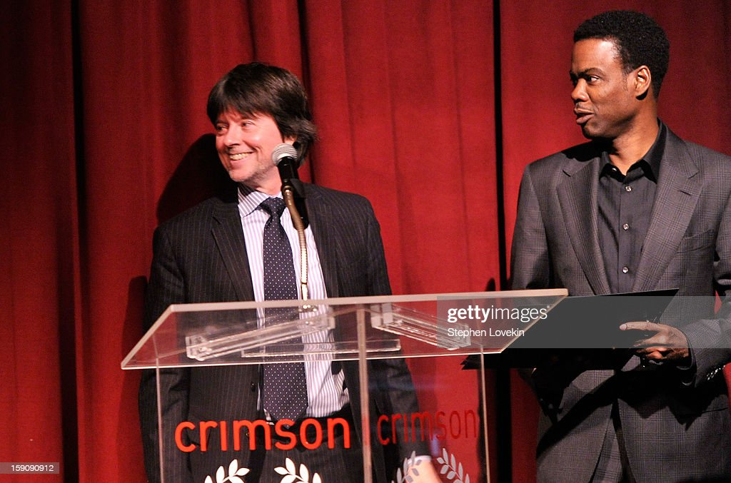 Filmmaker Ken Burns (L) and comedian Chris Rock speak onstage at the 2012 New York Film Critics Circle Awards at Crimson on January 7, 2013 in New York City.