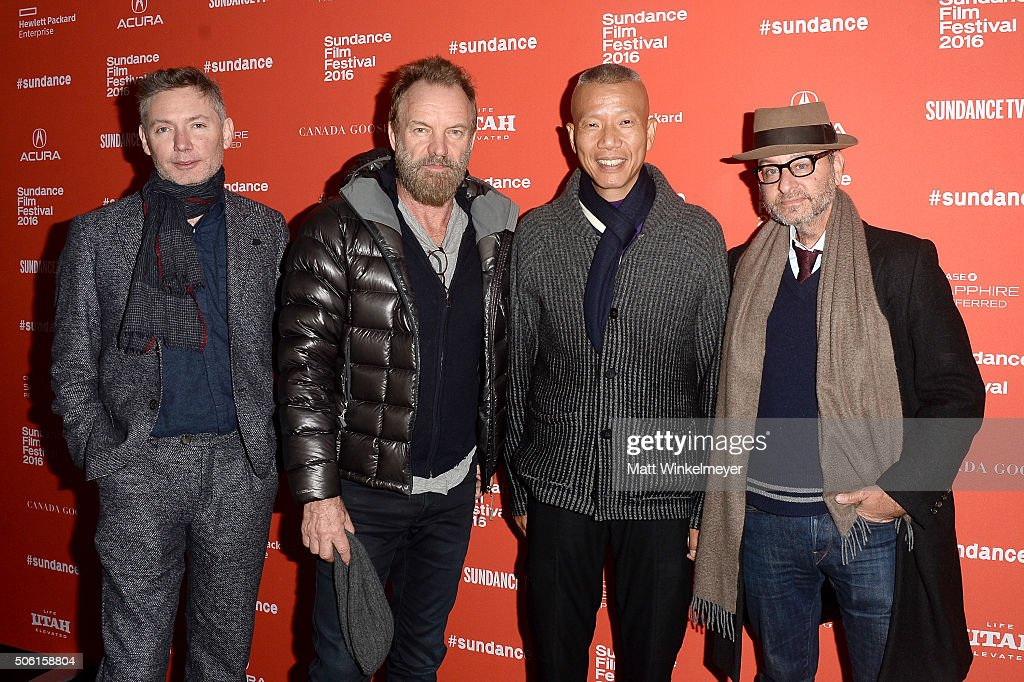 Filmmaker Kevin Macdonald, musican Sting, artist Cai Guo-Qiang, and actor Fisher Stevens attend the 'Sky Ladder: The Art Of Cai Guo-Qiang' Premiere during the 2016 Sundance Film Festival at The Marc Theatre on January 21, 2016 in Park City, Utah.