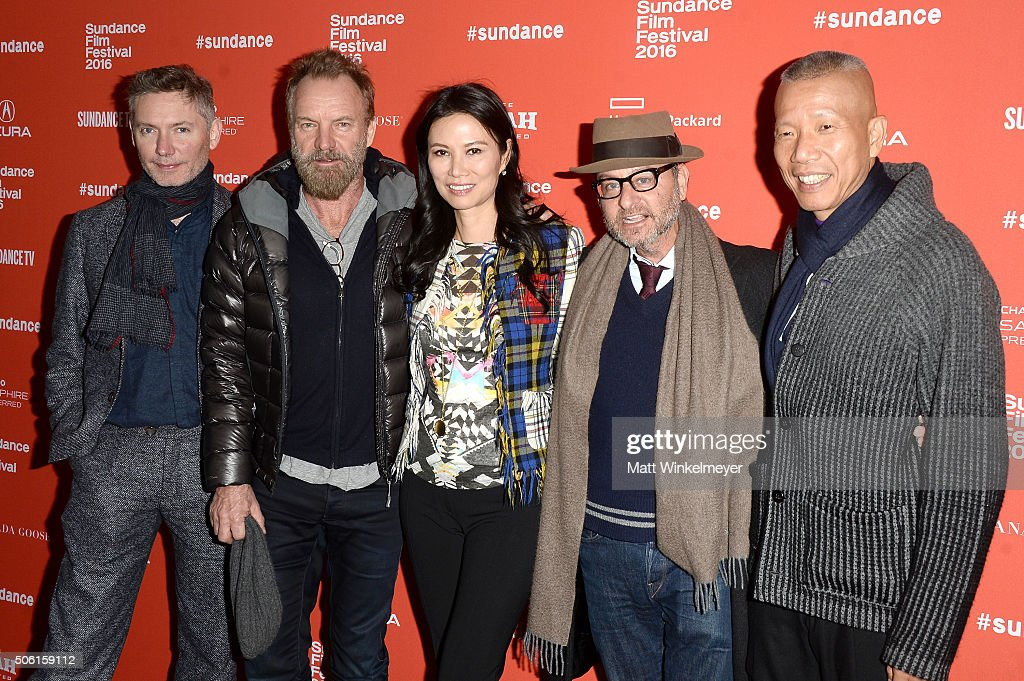 Filmmaker Kevin Macdonald, musican Sting, producer Wendi Murdoch, actor Fisher Stevens, and artist Cai Guo-Qiang attend the 'Sky Ladder: The Art Of Cai Guo-Qiang' Premiere during the 2016 Sundance Film Festival at The Marc Theatre on January 21, 2016 in Park City, Utah.