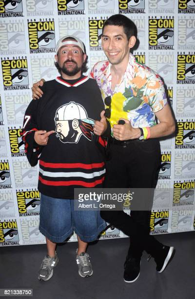 Filmmaker Kevin Smith and writer/producer Max Landis pose at Dirk Gently's Holistic Detective Agency BBC America Official Panel during ComicCon...