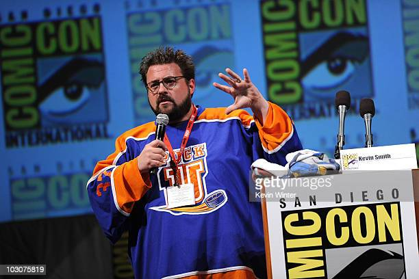 Filmmaker Kevin Smith speaks during a panel discussion at ComicCon 2010 held at San Diego Convention Center on July 24 2010 in San Diego California