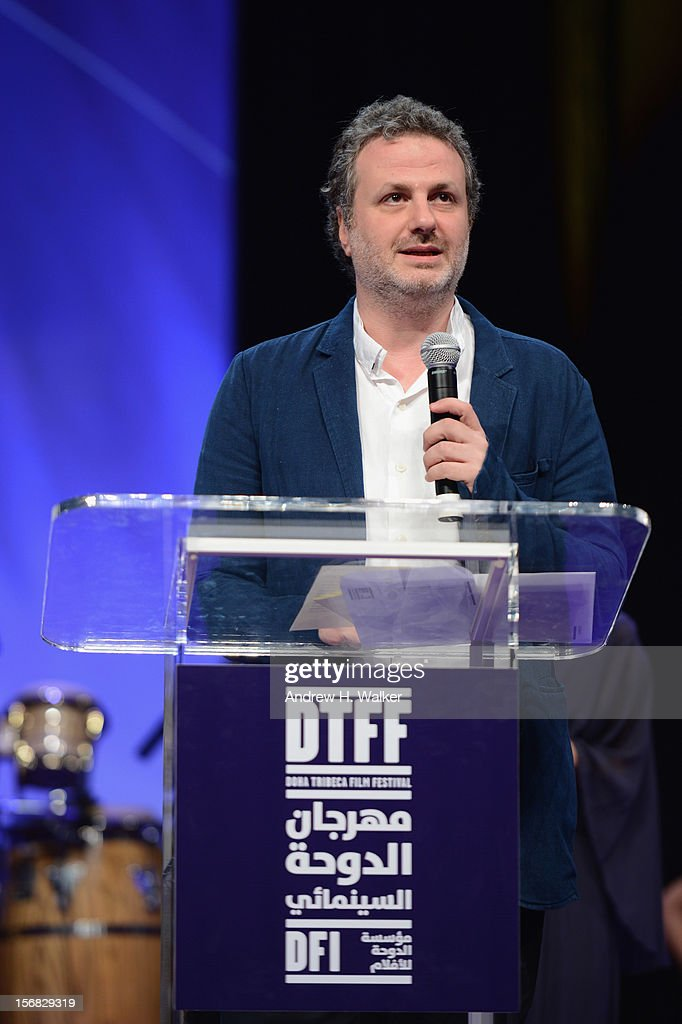 Filmmaker Khalil Joreige recieves Best Documentary Feature Film award for 'The Lebanese Rocket Society' at the Awards Ceremony at the Al Rayyan Theatre during the 2012 Doha Tribeca Film Festival on November 22, 2012 in Doha, Qatar.