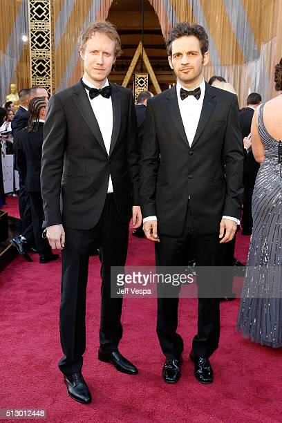 Filmmaker Laszlo Nemes and actor Geza Rohrig attend the 88th Annual Academy Awards at Hollywood Highland Center on February 28 2016 in Hollywood...