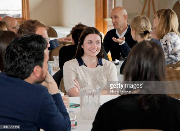 Filmmaker Laura Naylor attends the 2017 Aspen Shortsfest filmmakers breakout sessions on April 7 2017 at Mountain Chalet in Aspen Colorado