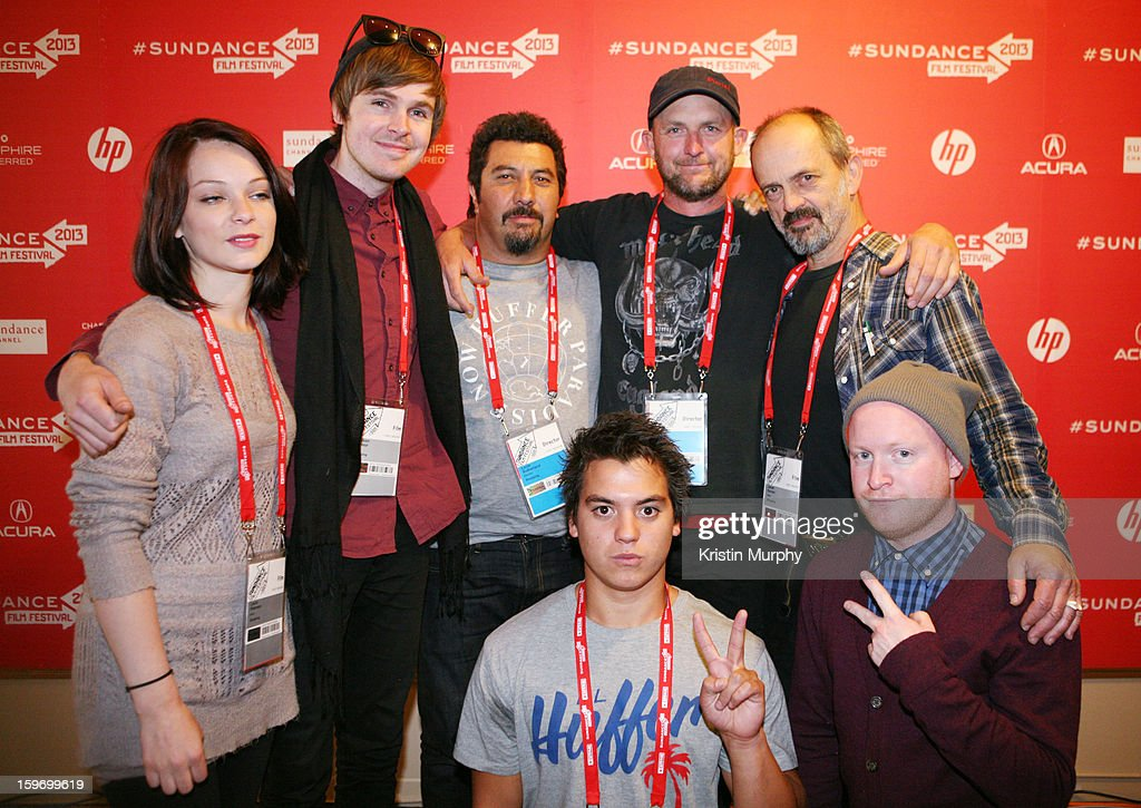 Filmmaker Laura Petersen, composer Grayson Gilmour, director Louis Sutherland, director Mark Albiston and actorJacek Koman and (Bottom L-R) actors Kevin Paulo and Byron Coll attend the 'Shopping' premiere at Egyptian Theatre during the 2013 Sundance Film Festival on January 18, 2013 in Park City, Utah.