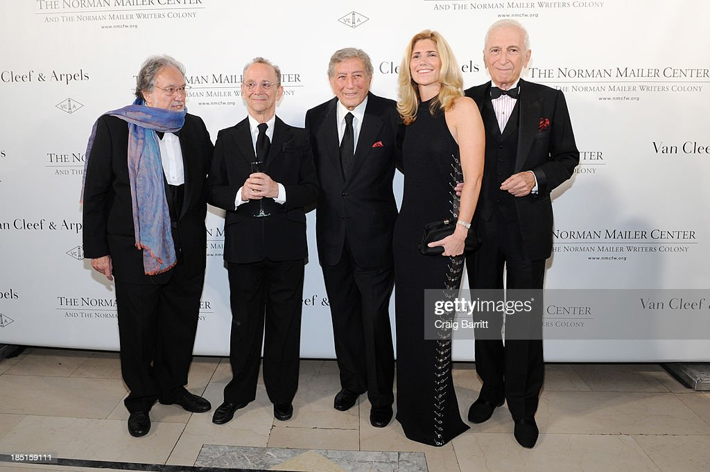 Filmmaker Lawrence Schiller, actor Joel Grey, singer Tony Bennett, co-founder of Exploring the Arts Susan Benedetto, and author Gay Talese attend the Norman Mailer Center's Fifth Annual Benefit Gala sponsored by Van Cleef & Arpels on October 17, 2013 in New York City.