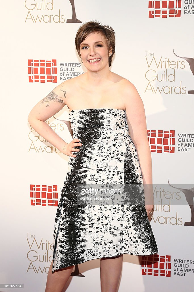 Filmmaker <a gi-track='captionPersonalityLinkClicked' href=/galleries/search?phrase=Lena+Dunham&family=editorial&specificpeople=5836535 ng-click='$event.stopPropagation()'>Lena Dunham</a> attends the 65th annual Writers Guild East Coast Awards at B.B. King Blues Club & Grill on February 17, 2013 in New York City.