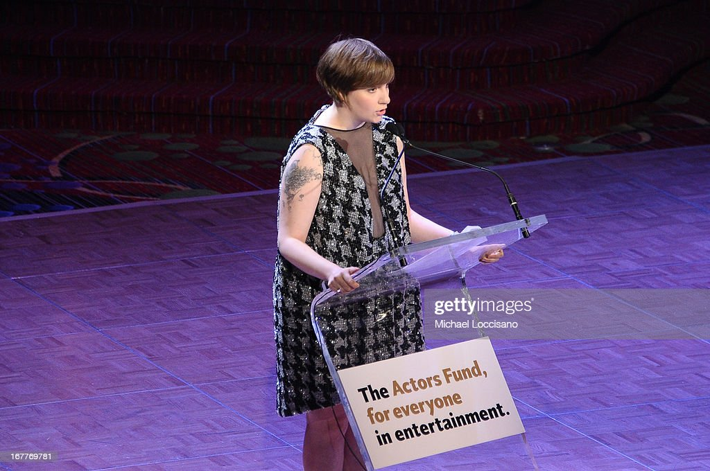 Filmmaker Lena Dunham speaks onstage at the 2013 Actors Fund's Annual Gala Honoring Robert De Niro at The New York Marriott Marquis on April 29, 2013 in New York City.