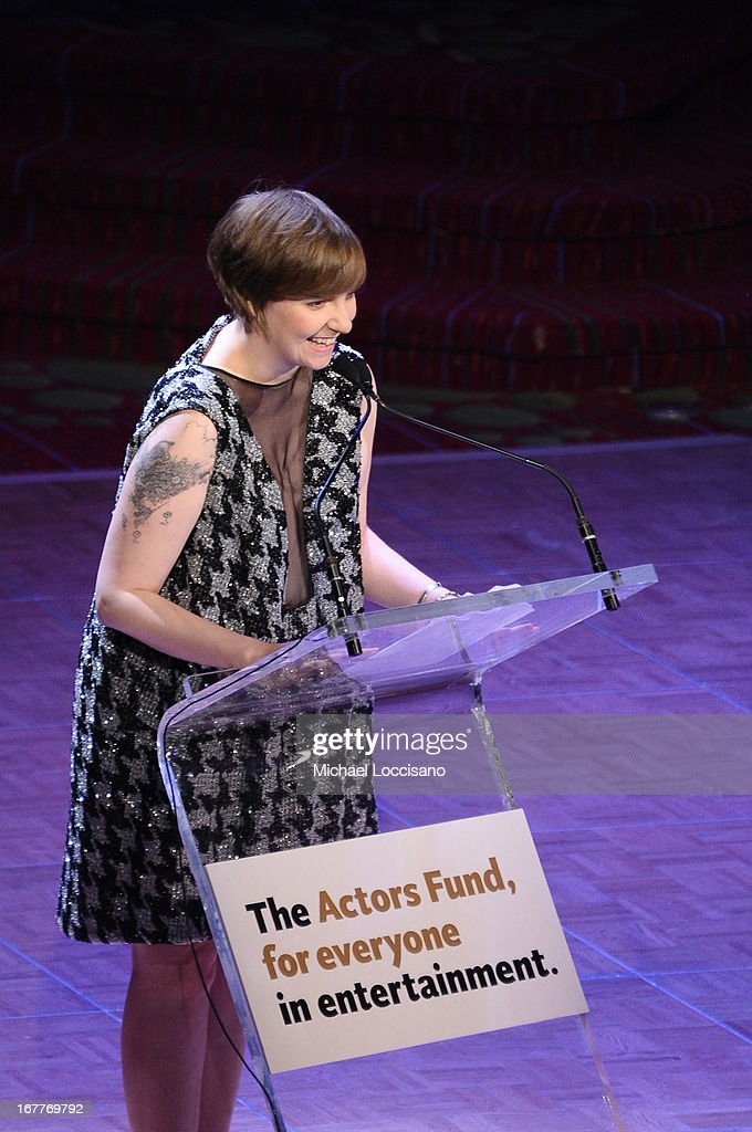Filmmaker <a gi-track='captionPersonalityLinkClicked' href=/galleries/search?phrase=Lena+Dunham&family=editorial&specificpeople=5836535 ng-click='$event.stopPropagation()'>Lena Dunham</a> speaks onstage at the 2013 Actors Fund's Annual Gala Honoring Robert De Niro at The New York Marriott Marquis on April 29, 2013 in New York City.