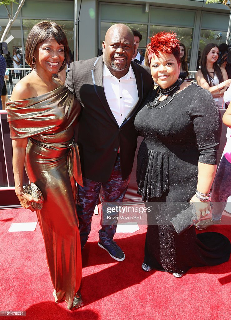 Filmmaker Margaret Avery, David Mann and Tamela Mann attend the BET AWARDS '14 at Nokia Theatre L.A. LIVE on June 29, 2014 in Los Angeles, California.