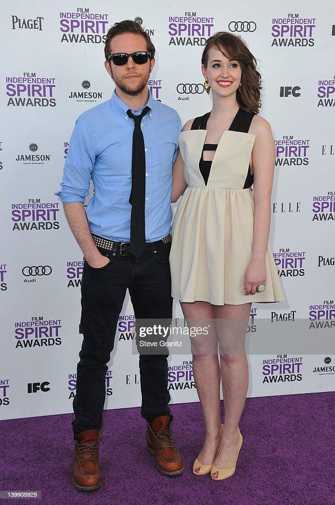 Filmmaker Mark Jackson and actress Joslyn Jensen arrive at the 2012 Film Independent Spirit Awards at Santa Monica Pier on February 25, 2012 in Santa Monica, California.