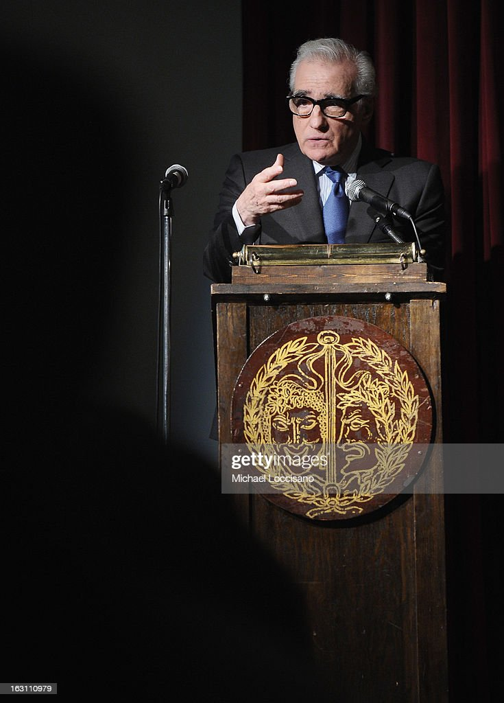 Filmmaker <a gi-track='captionPersonalityLinkClicked' href=/galleries/search?phrase=Martin+Scorsese&family=editorial&specificpeople=201976 ng-click='$event.stopPropagation()'>Martin Scorsese</a> addresses the audience during the 2013 First Time Fest closing night awards at The Players Club on March 4, 2013 in New York City.