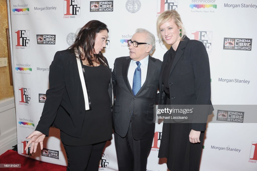 Filmmaker Martin Scorsese (C) and Co-Founders of First Time Fest, Johanna Bennett (L) and Mandy Ward attend the closing night awards during the 2013 First Time Fest at The Players Club on March 4, 2013 in New York City.