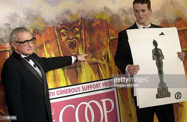 Filmmaker Martin Scorsese gets an ink blot test by Hasty Pudding producer Chuck Howe at the annual Hasty Pudding Man of the Year award at Harvard...
