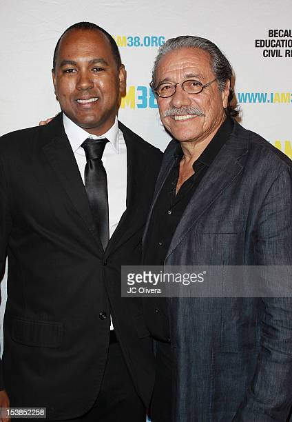 Filmmaker Michael D Olmos and actor Edward J Olmos arrive at the Screening of 'Filly Brown' held at The Egyptian Theater on October 8 2012 in Los...