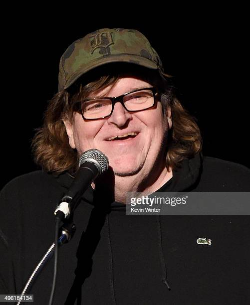 Filmmaker Michael Moore speaks onstage at the Centerpiece Gala Premiere of Dog Eat Dog Films' 'Where to Invade Next' during AFI FEST 2015 presented...