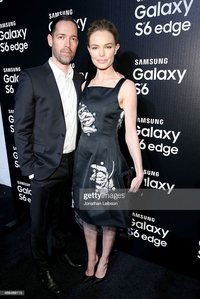 Filmmaker Michael Polish and actress Kate Bosworth attend the Samsung Galaxy S 6 edge launch on April 2 2015 in Los Angeles California