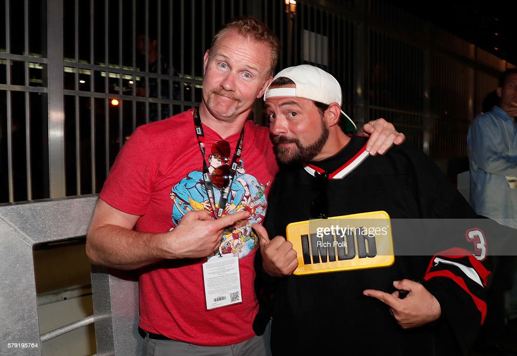 Filmmaker Morgan Spurlock and host Kevin Smith attend the IMDb Yacht Party Presented By TCL at on July 22 2016 in San Diego California