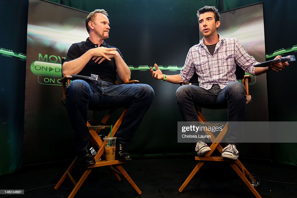 Filmmaker <a gi-track='captionPersonalityLinkClicked' href=/galleries/search?phrase=Morgan+Spurlock&family=editorial&specificpeople=212719 ng-click='$event.stopPropagation()'>Morgan Spurlock</a> (L) and ReelzChannel host Jeremy Parsons speak at the Movies On Demand lounge at Comic Con at Hard Rock Hotel San Diego on July 12, 2012 in San Diego, California.