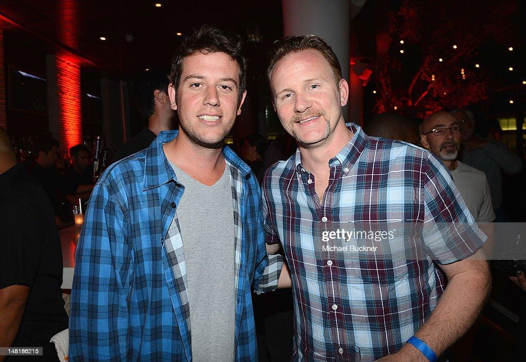 Filmmaker Morgan Spurlock (R) attends 'The Twilight Saga: Breaking Dawn Part 2' VIP Comic-Con Celebration Sponsored by Fandango at Float in the Hard Rock Hotel on July 11, 2012 in San Diego, California.