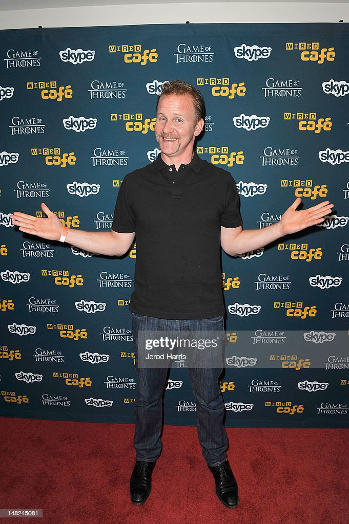 Filmmaker <a gi-track='captionPersonalityLinkClicked' href=/galleries/search?phrase=Morgan+Spurlock&family=editorial&specificpeople=212719 ng-click='$event.stopPropagation()'>Morgan Spurlock</a> attends WIRED Cafe at Comic-Con held at Palm Terrace at the Omni Hotel on July 12, 2012 in San Diego, California.