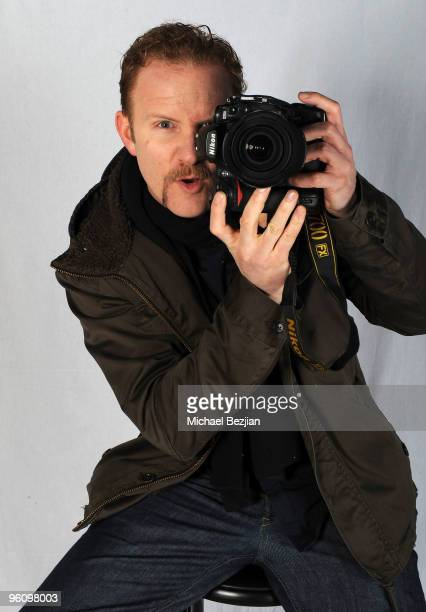 Filmmaker Morgan Spurlock poses at the House of Hype Portrait Studio on January 23 2010 in Park City Utah