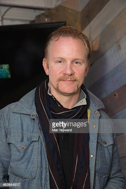 Filmmaker Morgan Spurlock poses for a photo before speaking at Haus Chat Truth And Reconciliation In Film during the Sundance Film Festival on...