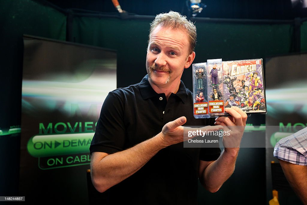 Filmmaker Morgan Spurlock speaks at the Movies On Demand lounge at Comic Con at Hard Rock Hotel San Diego on July 12 2012 in San Diego California