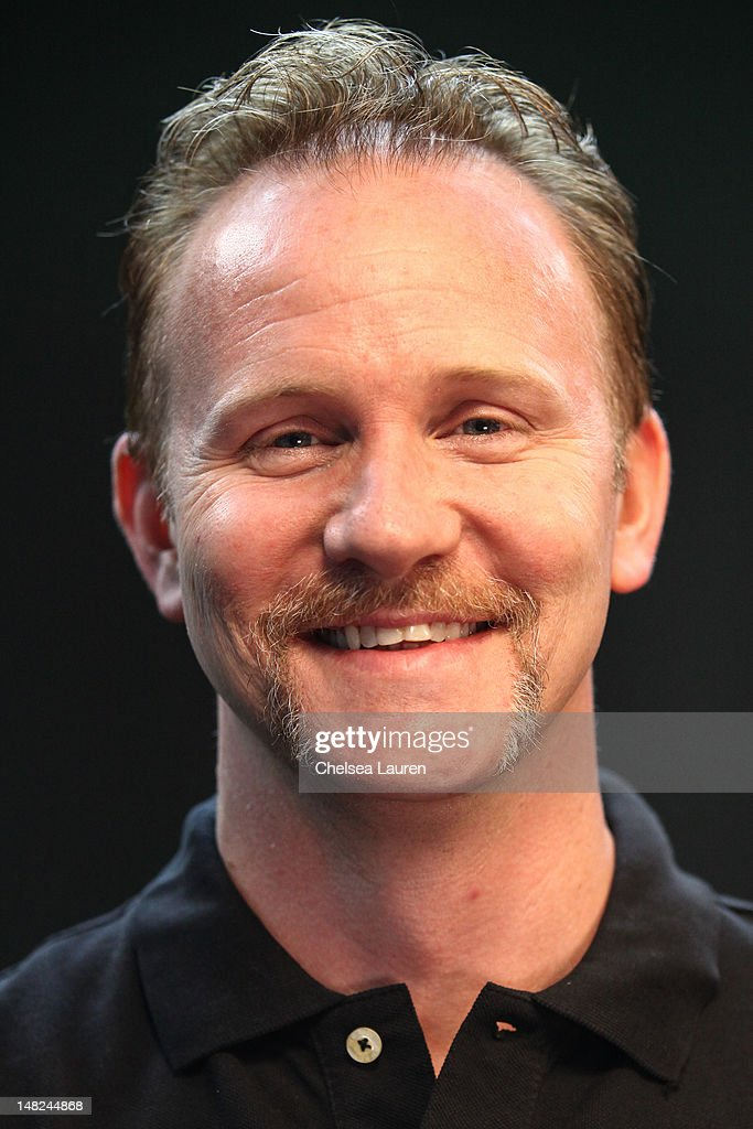 Filmmaker <a gi-track='captionPersonalityLinkClicked' href=/galleries/search?phrase=Morgan+Spurlock&family=editorial&specificpeople=212719 ng-click='$event.stopPropagation()'>Morgan Spurlock</a> speaks at the Movies On Demand lounge at Comic Con at Hard Rock Hotel San Diego on July 12, 2012 in San Diego, California.