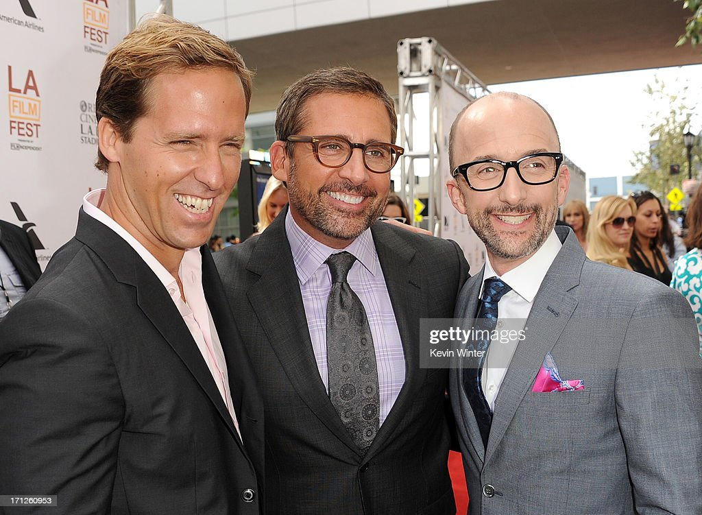 Filmmaker <a gi-track='captionPersonalityLinkClicked' href=/galleries/search?phrase=Nat+Faxon&family=editorial&specificpeople=734812 ng-click='$event.stopPropagation()'>Nat Faxon</a>, actor <a gi-track='captionPersonalityLinkClicked' href=/galleries/search?phrase=Steve+Carell&family=editorial&specificpeople=595491 ng-click='$event.stopPropagation()'>Steve Carell</a> and filmmaker <a gi-track='captionPersonalityLinkClicked' href=/galleries/search?phrase=Jim+Rash&family=editorial&specificpeople=742689 ng-click='$event.stopPropagation()'>Jim Rash</a> attend the premiere of Fox Searchlight Pictures' 'The Way, Way Back' at Regal Cinemas L.A. Live on June 23, 2013 in Los Angeles, California.