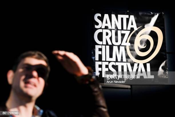 Filmmaker Nigel Deans introduces his film Bigly Yellow at the Santa Cruz Film Festival at Tannery Arts Center on October 13 2017 in Santa Cruz...