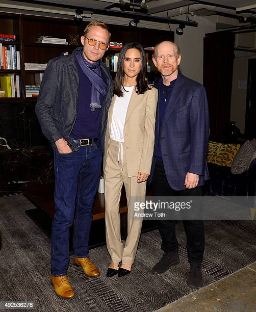 Filmmaker Paul Bettany actress Jennifer Connelly and Ron Howard attend the 'Shelter' New York screening on October 13 2015 in New York City