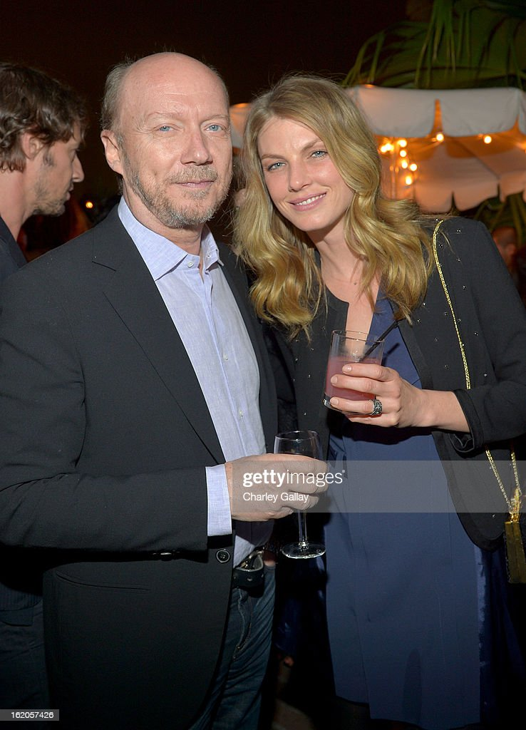 "Filmmaker Paul Haggis and model Angela Lindvall wearing Juicy Couture attend Vanity Fair and Juicy Couture's Celebration of the 2013 ""Vanities"" Calendar hosted by Vanity Fair West Coast Editor Krista Smith and actress Olivia Munn in support of the Regional Food Bank of Oklahoma, a member of Feeding America, at the Chateau Marmont on February 18, 2013 in Los Angeles, California."