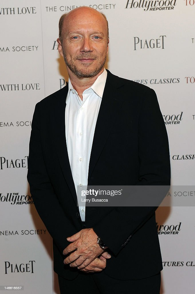Filmmaker <a gi-track='captionPersonalityLinkClicked' href=/galleries/search?phrase=Paul+Haggis&family=editorial&specificpeople=213967 ng-click='$event.stopPropagation()'>Paul Haggis</a> attends the Cinema Society with The Hollywood Reporter & Piaget and Disaronno special screening of 'To Rome With Love' at the Paris Theatre on June 20, 2012 in New York City.