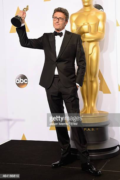 Filmmaker Pawel Pawlikowski winner of the Best Foreign Language Film Award for 'Ida' poses in the press room during the 87th Annual Academy Awards at...