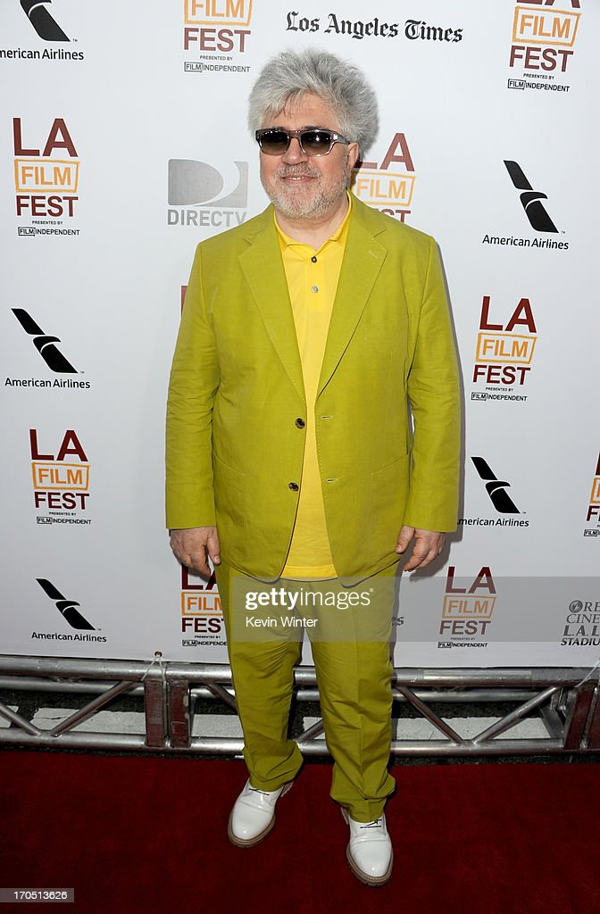 Filmmaker Pedro Almodovar arrives at the premiere of Sony Pictures Classics 'I'm So Excited' during the 2013 Los Angeles Film Festival at Regal...