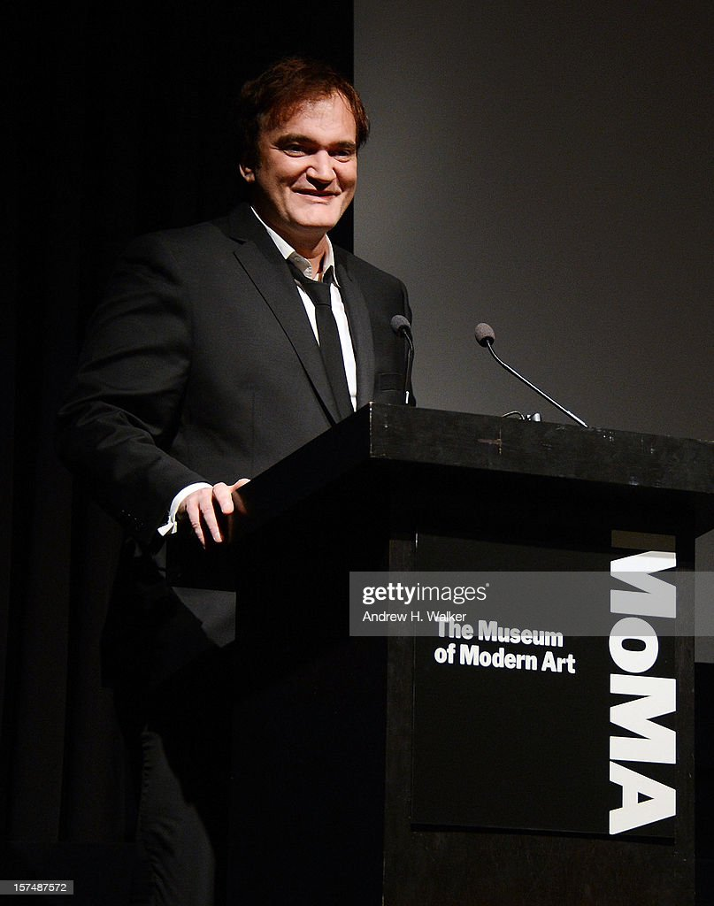 Filmmaker <a gi-track='captionPersonalityLinkClicked' href=/galleries/search?phrase=Quentin+Tarantino&family=editorial&specificpeople=171796 ng-click='$event.stopPropagation()'>Quentin Tarantino</a> speaks at The Museum of Modern Art Film Benefit Honoring <a gi-track='captionPersonalityLinkClicked' href=/galleries/search?phrase=Quentin+Tarantino&family=editorial&specificpeople=171796 ng-click='$event.stopPropagation()'>Quentin Tarantino</a> at MOMA on December 3, 2012 in New York City.