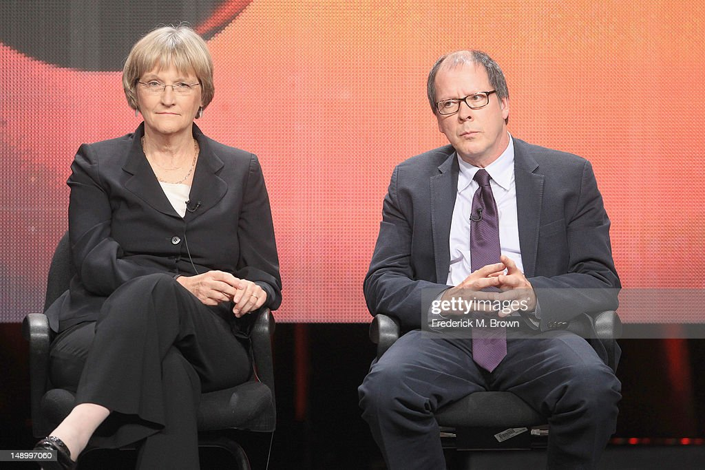 Filmmaker Ric Burns (R) and Drew Gilpin Faust speak onstage at the American Experience 'Death and the Civil War' panel during day 1 of the PBS portion of the 2012 Summer TCA Tour held at the Beverly Hilton Hotel on July 21, 2012 in Beverly Hills, California.