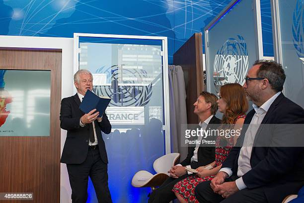 Filmmaker Richard Curtis speaks as his copanelists listen In conjunction with the Sustainable Development Goals initiative to be taken up by the...