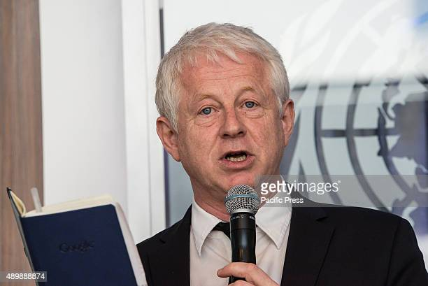 Filmmaker Richard Curtis speaks at the press event In conjunction with the Sustainable Development Goals initiative to be taken up by the United...