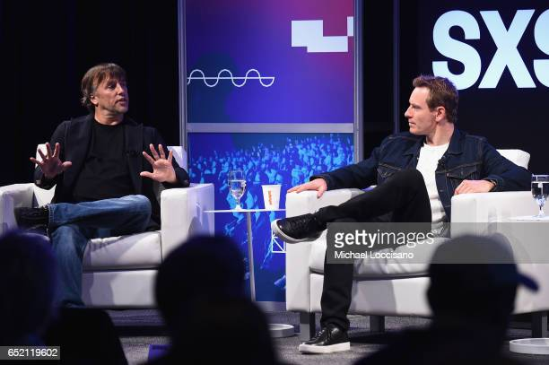 Filmmaker Richard Linklater and actor Michael Fassbender take part in the Made in Austin A Look Into 'Song To Song' panel discussion during 2017 SXSW...