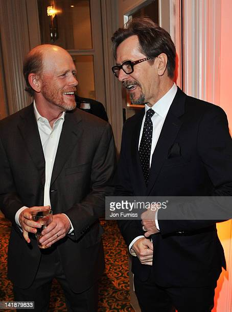 Filmmaker Ron Howard and actor Gary Oldman attend the Jameson Empire Awards 2012 at Grosvenor House on March 25 2012 in London England