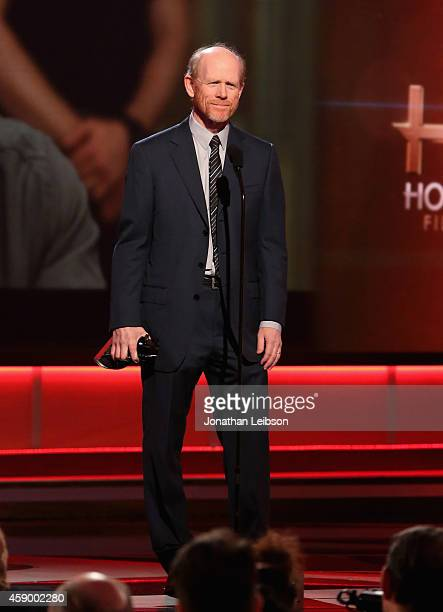Filmmaker Ron Howard speaks onstage during The 18th Annual Hollywood Film Awards at The Palladium on November 14 2014 in Hollywood California...