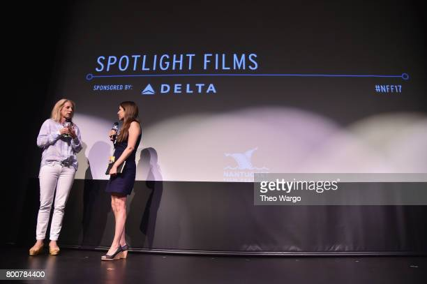 Filmmaker Rory Kennedy and contributing editor for The Hollywood Reporter Tatiana Siegel attend the QA of Spotlight Film 'Take Every Wave The Life of...