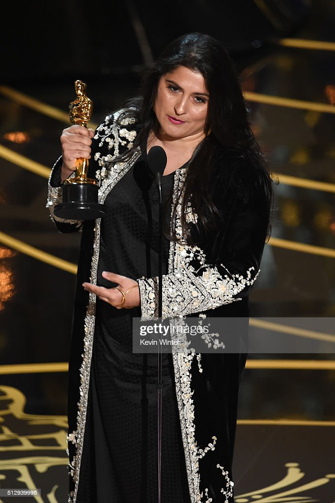 Filmmaker <a gi-track='captionPersonalityLinkClicked' href=/galleries/search?phrase=Sharmeen+Obaid-Chinoy&family=editorial&specificpeople=5581145 ng-click='$event.stopPropagation()'>Sharmeen Obaid-Chinoy</a> accepts the Best Documentary Short Subject award for 'A Girl in the River: The Price of Forgiveness' onstage during the 88th Annual Academy Awards at the Dolby Theatre on February 28, 2016 in Hollywood, California.