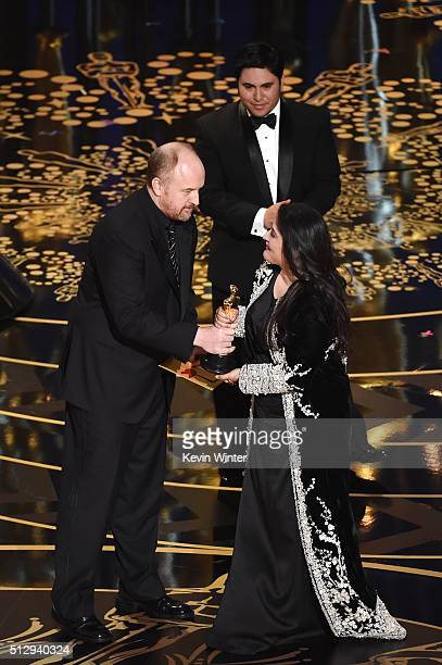 Filmmaker Sharmeen ObaidChinoy accepts the Best Documentary Short Subject award for 'A Girl in the River The Price of Forgiveness' onstage with actor...