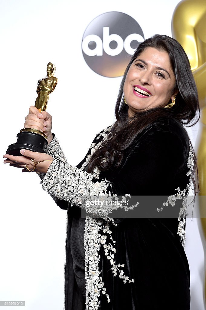 Filmmaker <a gi-track='captionPersonalityLinkClicked' href=/galleries/search?phrase=Sharmeen+Obaid-Chinoy&family=editorial&specificpeople=5581145 ng-click='$event.stopPropagation()'>Sharmeen Obaid-Chinoy</a>, winner of the Best Documentary Short award for 'A Girl in the River,' poses in the press room during the 88th Annual Academy Awards at Loews Hollywood Hotel on February 28, 2016 in Hollywood, California.