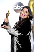 Filmmaker Sharmeen ObaidChinoy winner of the Best Documentary Short award for 'A Girl in the River' poses in the press room during the 88th Annual...