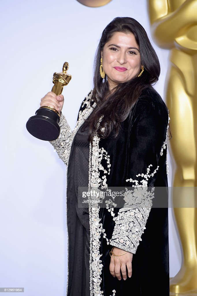 Filmmaker <a gi-track='captionPersonalityLinkClicked' href=/galleries/search?phrase=Sharmeen+Obaid-Chinoy&family=editorial&specificpeople=5581145 ng-click='$event.stopPropagation()'>Sharmeen Obaid-Chinoy</a>, winner of the Best Documentary Short Subject award for 'A Girl in the River: The Price of Forgiveness,' poses in the press room during the 88th Annual Academy Awards at Loews Hollywood Hotel on February 28, 2016 in Hollywood, California.